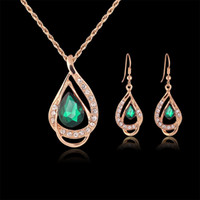 australian gold wholesale - Bridesmaid Jewelry Set Solid Gold Earring Necklace Pendants Swarovski Australian Crystal Jewelry Indian Jewellery Set Party Jewelry Set
