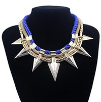 alloy chain - Hot Sale Alloy Spike Accessories Pendants with Rope Chain Statement Necklace