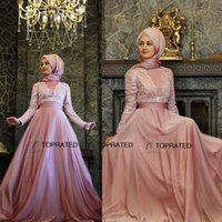 arabic neck scarf - 2015 New Muslim Evening Dresses Formal Long Sleeve Party Arabic Gowns A Line Crew Embroidery Chiffon Scarf Floor Length