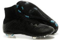 real football boots - 2015 New arrival mens sneakers Real Carton Fiber Mercurial Superfly FG Ronaldo CR7 Black White Soccer Shoes Cleats football boots high cut