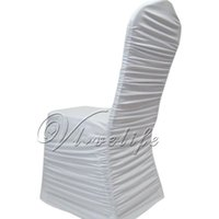 Wholesale White Shirred Ruffled Spandex Stretch Lycra Chair Cover Pleated Wedding Party Banquet Event Decorations order lt no track