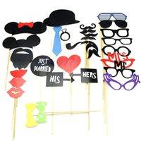 31pcs Nueva DIY Máscaras Photo Booth Atrezzo Bigote en un cumpleaños del palillo de la boda del partido-PY orden $ pista 18Nadie
