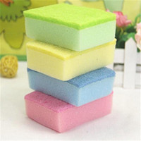 Wholesale 10 cm multicolored nano dishes washing sponges magic wipe sponge household cleaning tools