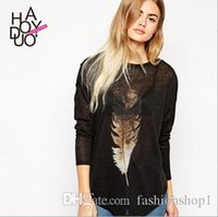 Crew Neck basic feathers - 2015 spring summer vintage Feather print women top long sleeve T shirt loose casual basic shirt top haoduoyi