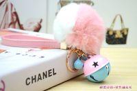 bell bags - 2016 fashion Korea double color bell Rabbit fur ball keychain bag phone Lady fashion key chain