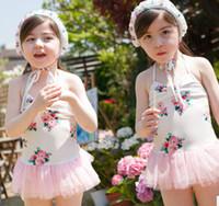 baby swimwear - Fashion children s swimsuit cute floral tulle tutu dress Siamese swimwear for baby girls kids beach swimsuit child spa swimwear