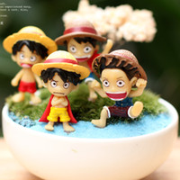 Wholesale Artificial mini One Piece Luffy dolls fairy garden miniatures toys gnome moss terrarium decor resin crafts bonsai home decor for DIY Zakka