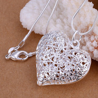 big love photos - Big Hollow Heart Photo pendants necklace with chains sterling silver p218 For Holidays Gift