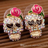 Wholesale New Fashion Jewelry Women Trendy Full Skull Shape Stud Earrings With Pink Rose Decoration H6604 W0 SUP5