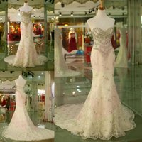 Wholesale Gorgeous Mermaid Wedding Dresses New Design Crystal Beaded Lace Sweetheart Formal Church Chapel Train Bridal Gowns Made In China sdd