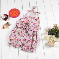 Wholesale baby rompers jumpsuit vintage rompers infant jumpsuit summer beach girls sun suit floral baby onesies toddler