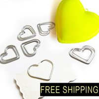 Wholesale MM Paper Clips bookmark in Blister cute Heart Shaped Card Office supply silver tone cheap wholsale