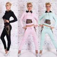 Wholesale 2015 Sexy Leopard Patchwork Hooded Drawstring Trainingspak Sportwear Womens Tracksuits Sport Suits Women Sweatsuit Set Costume