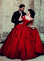 red ball gown wedding dress - Red Charming Ball Gown Wedding Dresses Off Shoulder Lace Up Back Long Satin Ruffled Romantic Bridal Gowns Plus Size Wedding Gowns For Bride