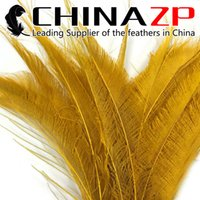 artificial peacock feathers - Gold Supplier CHINAZP Crafts Factory cm inch Length Artificial Dyed Golden Peacock Sword Cut Feathers for Costume Party