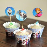 Wholesale Frozen Party Decorations Event Cupcake Wrappers Anna Elsa Hans Kristoff Sven Olaf CupCake Toppers Picks Kids Birthday Supplies Party Favors