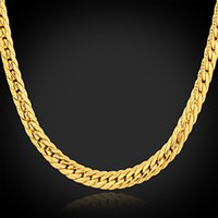 Wholesale fashion alloy plated K gold snake chain necklaces for men SP00809