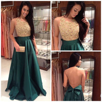 american models trains - Sexy Sheer Lace Back Evening Gowns with Gold Applique New Ruffle Satin Sweep Train Prom Dresses American Style Cheap Formal Gowns