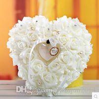 Wholesale Elegant Colorful Crystal Pearl Crystal Organza Satin Lace Bearer Heart shaped ring pillow european style ring pillow bridal wedding ring box