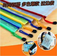Wholesale Pvc Grid File Zipper Bag A4 Document Bag Random Color B017