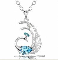 Pendant Necklaces swarovski - Peacock Diamond Crystal Sterling Silver Pendant Swarovski crystals diamond necklace y036