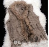 Wholesale New Real Genuine Knit Rabbit Fur Vest With Raccoon Fur Gilet Waistcoat Winter Fur Jacket