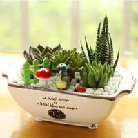 Wholesale ZAKKA Japanese Imitation Enamel oval ceramic small pot Succulents flower pots Garden Decoration