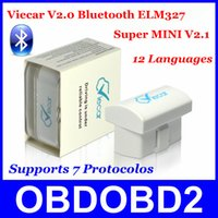 Wholesale Viecar Bluetooth Latest Version V2 Supports Protocols Works Android Symbian PC OBDII CAN BUS ELM3272015 New Arrival