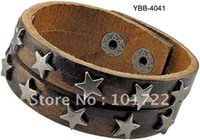 mens jewelry cheap - Mens Jewelry Real leather quality cheap price leather bracelet star rivet bracelet
