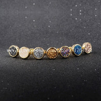 Wholesale mm K Gold Plated Multi Color Natural Agate Titanium Druzy Stud Earrings Fashion Rainbow Drusy Geode Earring