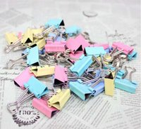 Wholesale 20PCS mm Colorful mini stainless metal binder clips paper Clip Office Supplies Color Random Drop