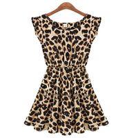 leopard print mini dress - Summer Dresses S XXL Vestido Plus Size Leopard Fashion Print Slim Beach Dress Girl Club Sexy Knee Vestidos Women Clothing S072