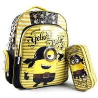 Cheap New Despicable Me Minions Pirate Minion School Bag & Pencil Case Set,Cartable Minion Mochila Elementary School Backpack Minions