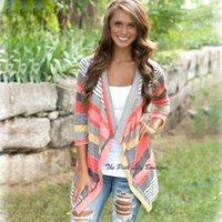 Wholesale Color Block Sleeves - Womens Fashion Striped Sweater Cardigan Drape Collar Long Sleeve Autumn Coat Color-Block Irregualr Hem Knit Cardigans Top LJE1102