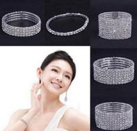 Wholesale 10PCS Rows Rhinestone Austria CZ Bracelets Crystal Wedding Bride Stretchy Bangle Wristband Jewelry Bracelet Fashion