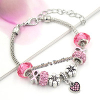 Cheap New Arrival European Style Breast Cancer Awareness Jewelry Pink Crystal Heart PDR Charms Pink Ribbon Bracelets for Breast Cancer Jewelry