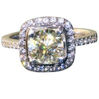 lab created - FG QUEEN QUALITY Solid k White Gold CT Almost Test Positive Lab Created Synthetic Diamond Halo Engagement Ring