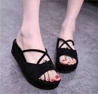 Wholesale 2015 New Fashion Women s Home Sandals Lady High Heeled Slippers Cross Non slip Casual Flat Heel Sandals Colors Size US Ms Shoes L468