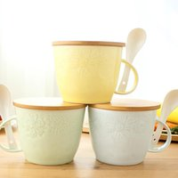 Cheap Wholesale-Lunch box relief noodles cups lidded ceramic bowl suits breakfast cups