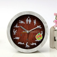 antique wooden figures - New White Alarm Wooden Clock Funny Figure Pattern Creative Vintage Bell Silent Kinds Position Home Decoration Wall Clock