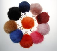 Wholesale 10 Colors CM Faux Fox Fur Ball Keychain Key Chain Trinket For Lovers High Quanlity Big Imitation Fox Fur Ball Keyrings Pom Pom
