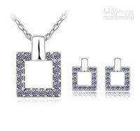 crystal jewelry - Austria crystal square shaped jewelry set k gold woman Swa crystal jewelry sets for