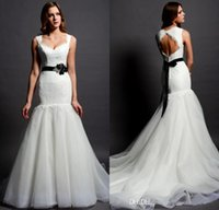 Wholesale Mermaid Scoop Lace Flower Sash Backless Court Train Black And White Tulle Bridal Wedding Dress With Cap Sleeve