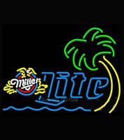 Wholesale Miller Lite Eagle Palm Tree With Wave Neon Sign Dallas cowboys jersey Neon Sign Beer Bar Pub Handcrafted Real Glass Tube
