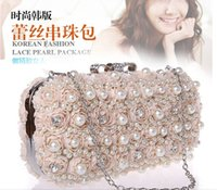bags imitation - Elegant Bridal Handbags Flowers Beads Pearls Party Queen Prom Clubs Luxury Hand Bags White Black Beige Champagne Colors Clutches