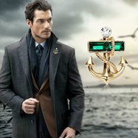 Wholesale Brand Brooch Gold Anchor Crystal Brooches For Women Fine Jewelry Unisex Man Lapel Pin Fashion New Broche Bijoux Femme Pieces