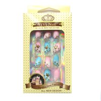 Wholesale VIVI NAIL Brand golden crown D false nails lovely beautiful women nails tips pink and light blue adhesive nails
