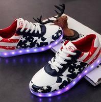 american girl sneakers - Retail Man Woman Shoes Kids Sneakers Boys Girls American Flag Stylish LED Light Luminous Men Women Couple Sports Athletic USB Shoes B3973