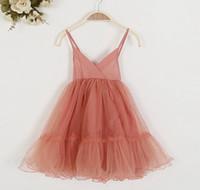 al por mayor tutús de encaje blanco-El nuevo tutú del vestido del cordón de la muchacha de la llegada viste para los cabritos de las muchachas embroma el vestido rosado blanco 5p de la princesa de los vestidos de partido de la muchacha del vestido del verano de las muchachas