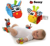 Wholesale 1 pairs animal newborn baby infant kids foot sock rattles toys developmental Soft Toy Cute Wrist Rattle Baby Rattles Foot Socks